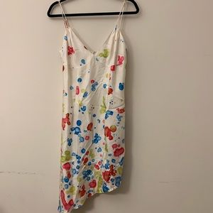 Milly Silk Spaghetti Strap Patterned Dress